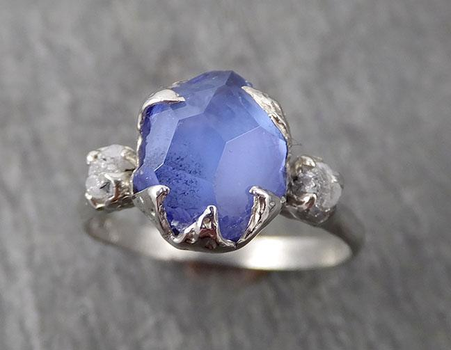 Partially Faceted Sapphire Raw Multi stone Rough Diamond 14k White Gold Engagement Ring Wedding Ring Custom Gemstone Ring 1700