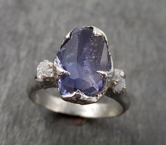 Partially Faceted Sapphire Raw Multi stone Rough Diamond 14k White Gold Engagement Ring Wedding Ring Custom Gemstone Ring 1701