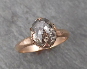 Fancy cut Salt and pepper Solitaire Diamond Engagement 14k Rose Gold Wedding Ring byAngeline 1705