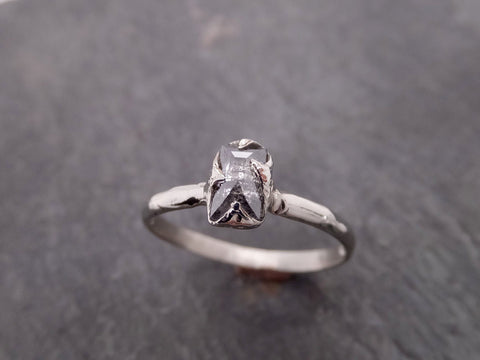Fancy cut salt and pepper Diamond Solitaire Engagement 14k White Gold Wedding Ring byAngeline 2074