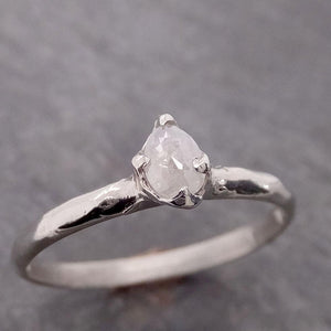 Fancy cut White Diamond Solitaire Engagement 14k White Gold Wedding Ring byAngeline 2076