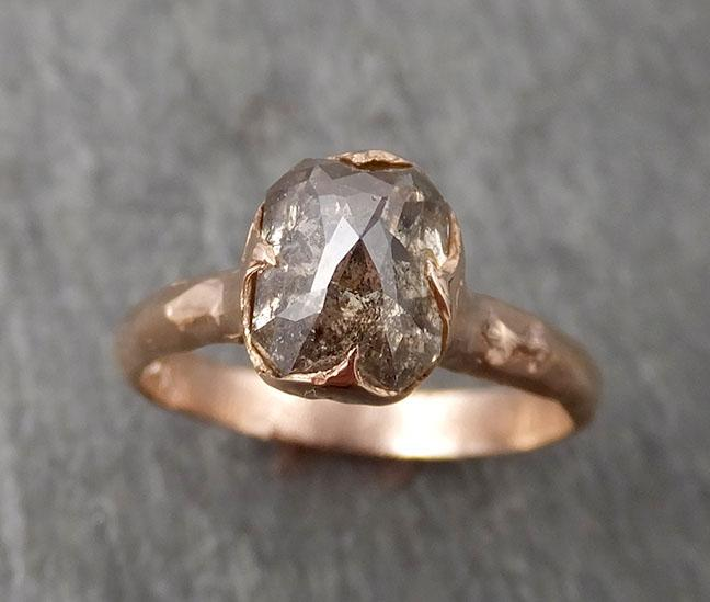 Fancy cut Salt and pepper Solitaire Diamond Engagement 14k Rose Gold Wedding Ring byAngeline 1704