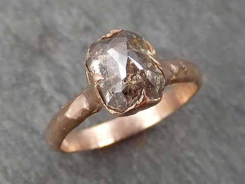 Faceted Fancy cut white Half Moon Diamond Engagement 14k Rose Gold Solitaire Wedding Ring byAngeline 0966