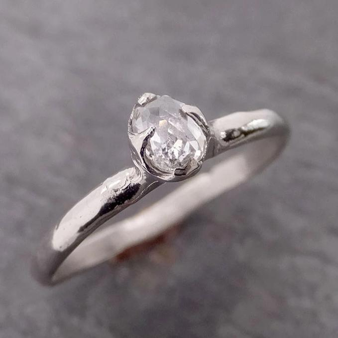 Fancy cut White Diamond Solitaire Engagement 14k White Gold Wedding Ring byAngeline 2080