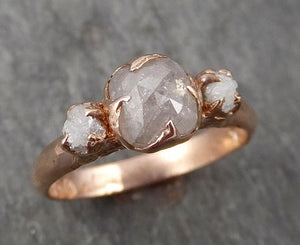Fancy cut white Diamond Engagement 14k Rose Gold Multi stone Wedding Ring Stacking Rough Diamond Ring byAngeline 1707