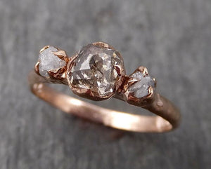 Faceted Fancy cut Champagne Diamond Engagement 14k Rose Gold Multi stone Wedding Ring Rough Diamond Ring byAngeline 1708
