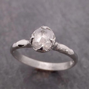 Fancy cut White Diamond Solitaire Engagement 14k White Gold Wedding Ring byAngeline 2079