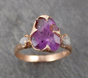 Partially Faceted purple Sapphire 14k Rose gold Multi Stone Ring Gold Gemstone Engagement Ring Raw 1709