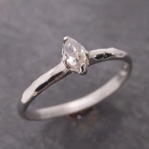 Fancy cut White Diamond Solitaire Engagement 14k White Gold Wedding Ring byAngeline 2075