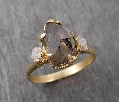 Partially faceted Sapphire natural green sapphire gemstone Raw Rough Diamond 14k Yellow Gold Engagement ring multi stone 1711