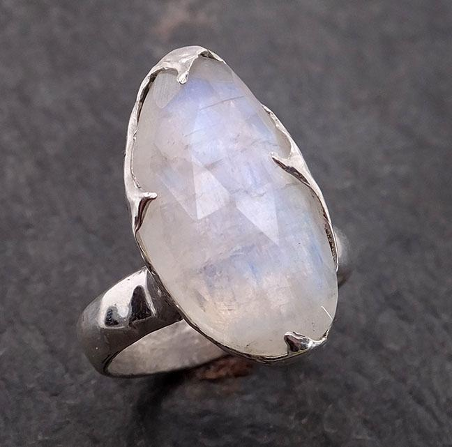 Fancy cut Moonstone Sterling Silver Ring Gemstone Solitaire recycled statement cocktail statement SS00001