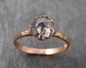 Fancy cut Salt and pepper Solitaire Diamond Engagement 14k Rose Gold Wedding Ring byAngeline 1716