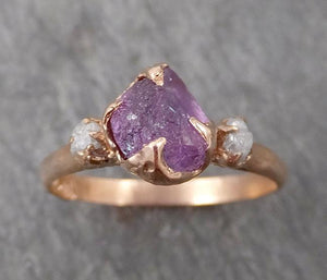 Raw Sapphire Diamond Gold Engagement Ring Multi stone Wedding Ring Custom One Of a Kind Purple Gemstone Ring Three stone Ring byAngeline 1712