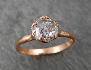 Faceted Fancy cut white Diamond Solitaire Engagement 14k Rose Gold Wedding Ring byAngeline 1713