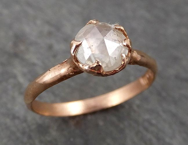 Faceted Fancy cut white Diamond Solitaire Engagement 14k Rose Gold Wedding Ring byAngeline 1714