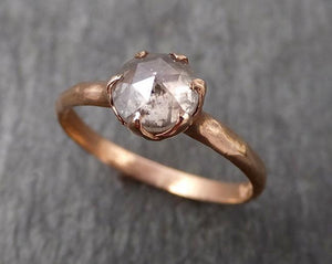 Faceted Fancy cut white Diamond Solitaire Engagement 14k Rose Gold Wedding Ring byAngeline 1715