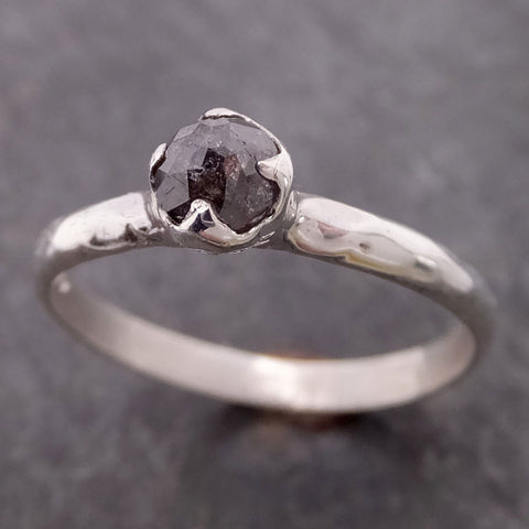 Fancy cut salt and pepper Diamond Solitaire Sterling Silver Ring byAngeline SS00014