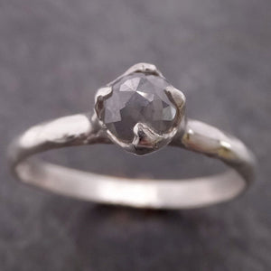Fancy cut gray Diamond Solitaire Sterling Silver Ring byAngeline SS00029