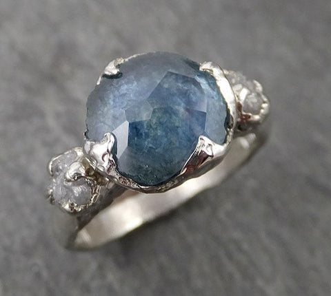 Montana Sapphire Partially Faceted Multi stone Rough Diamond 14k White Gold Engagement Ring Wedding Ring Custom Gemstone Ring 1717