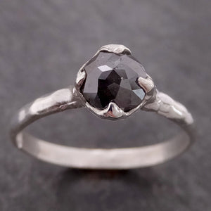 Fancy cut salt and pepper Diamond Solitaire Sterling Silver Ring byAngeline SS00028