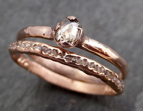 Fancy cut Champagne Diamond Dainty Solitaire Engagement 14k Rose Gold Wedding Ring byAngeline 0968