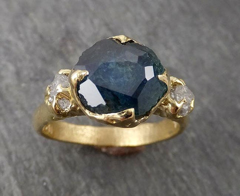 Partially faceted Montana Sapphire Diamond 18k yellow Gold Engagement Ring Wedding Ring Custom One Of a Kind blue Gemstone Ring Multi stone Ring 1718
