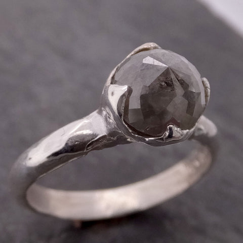 Fancy cut salt and pepper Diamond Solitaire Sterling Silver Ring byAngeline SS00027
