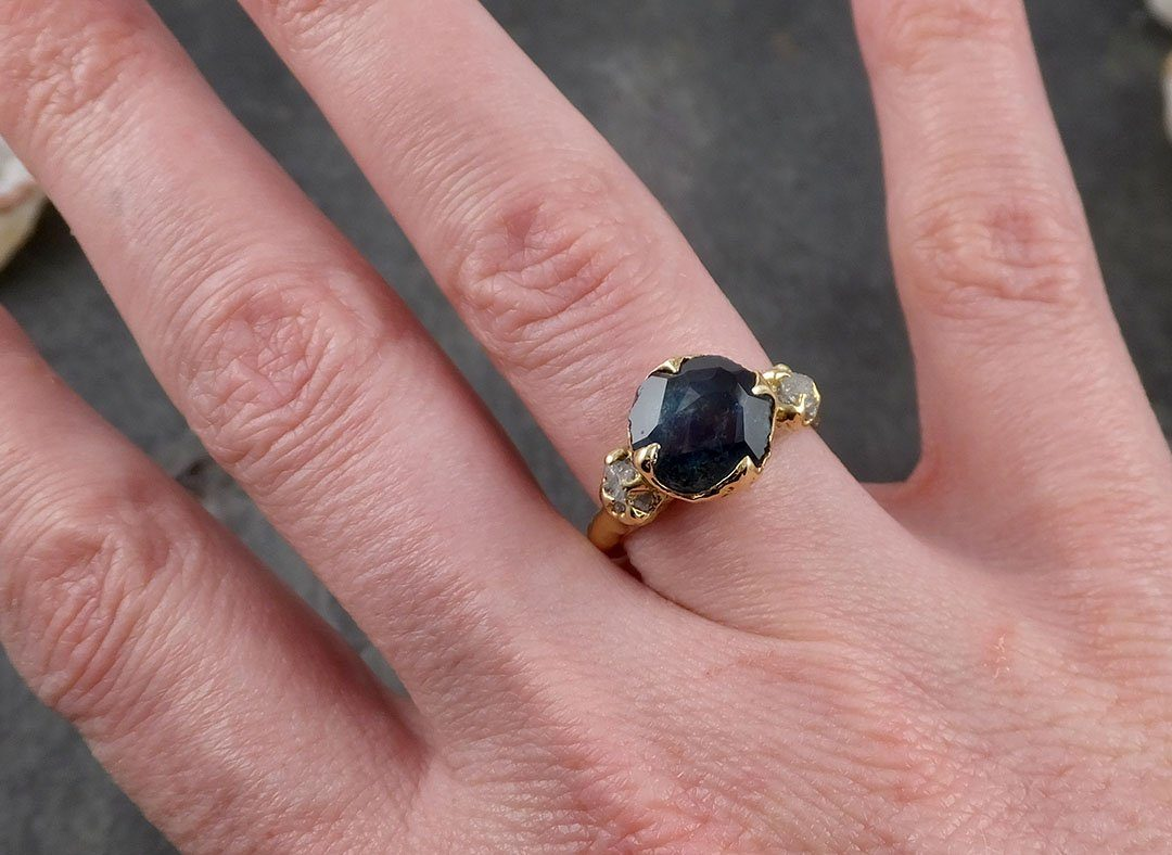 Partially faceted Natural red Garnet Gemstone solitaire ring ...