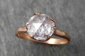 Faceted Fancy cut white Diamond Solitaire Engagement 14k Rose Gold Wedding Ring byAngeline 1724
