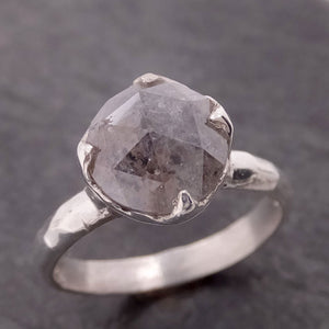 Fancy cut salt and pepper Diamond Solitaire Sterling Silver Ring byAngeline SS00026