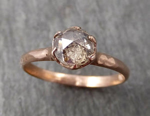 Faceted Fancy cut Champagne Diamond Solitaire Engagement 14k Rose Gold Wedding Ring byAngeline 1726