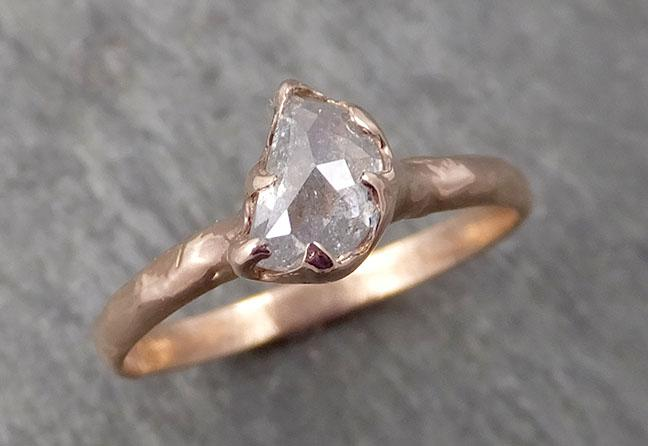 Faceted Fancy cut white Half Moon Diamond Engagement 14k Rose Gold Solitaire Wedding Ring byAngeline 1723