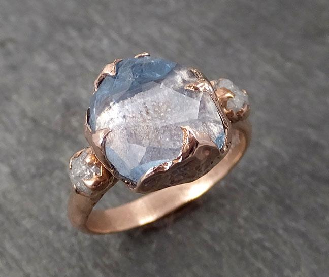 Raw Rough and partially Faceted Aquamarine Diamond 14k rose gold Multi stone Ring One Of a Kind Gemstone Ring Recycled gold 1719