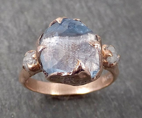 Partially faceted Raw Sapphire Diamond 14k rose Gold Dainty Engagement Ring Wedding Ring Custom One Of a Kind Gemstone Ring Three stone Ring 0544