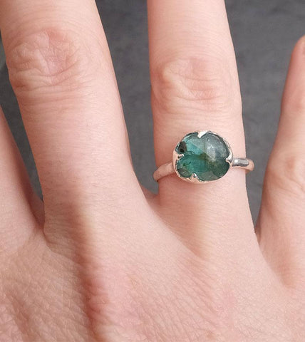 Fancy cut indicolite blue green Tourmaline Sterling Silver Ring Gemstone Solitaire recycled cocktail statement SS00013