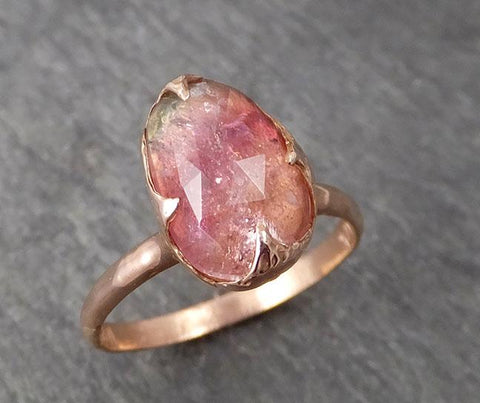 Fancy cut pink Tourmaline Rose Gold Ring Gemstone Solitaire recycled 14k statement cocktail statement 1721