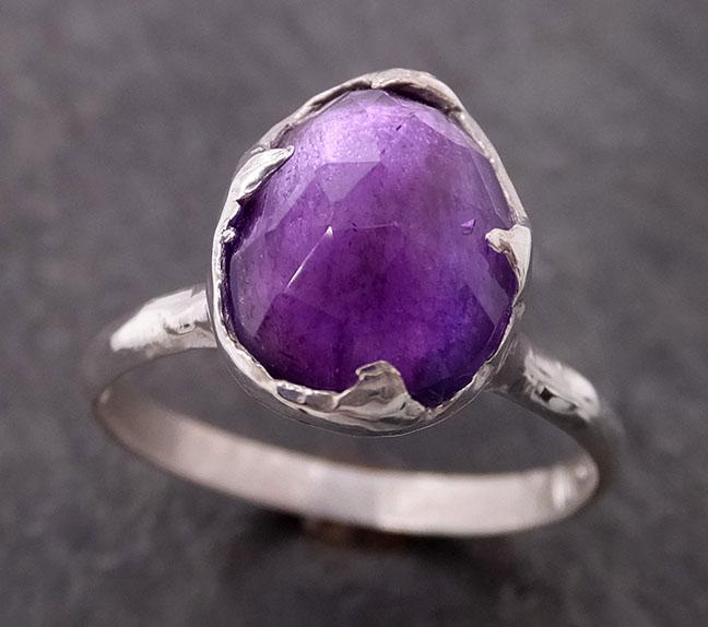 Fancy cut Amethyst Sterling Silver Ring Gemstone Solitaire recycled statement cocktail statement SS00011