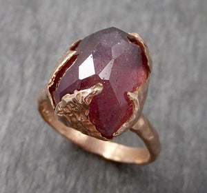 Partially Faceted Sapphire 14k rose Gold Engagement Ring Wedding Ring cocktail statement One Of a Kind Gemstone Ring Solitaire 1720