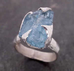 uncut Aquamarine Solitaire Ring Custom Sterling Silver One Of a Kind Gemstone Ring Bespoke byAngeline SS00009