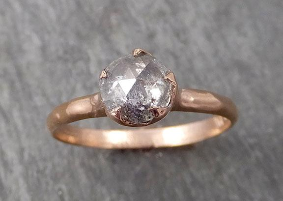 Faceted Fancy cut Salt and Pepper Diamond Solitaire Engagement 14k Rose Gold Wedding Ring byAngeline 1725