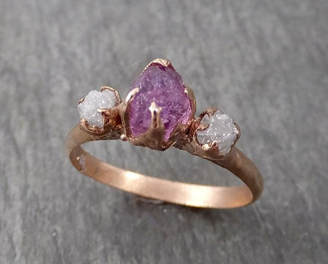 Sapphire Raw Multi stone Rough Diamond 14k rose Gold Engagement Ring Wedding Ring Custom One Of a Kind Gemstone Ring 1722
