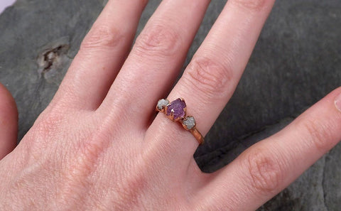 Partially faceted Raw Sapphire Diamond 14k rose Gold Engagement Ring Wedding Ring Custom One Of a Kind Violet Gemstone Ring Three stone Ring 0552
