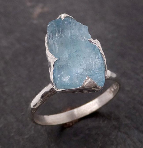 uncut Aquamarine Solitaire Ring Custom Sterling Silver One Of a Kind Gemstone Ring Bespoke byAngeline SS00008