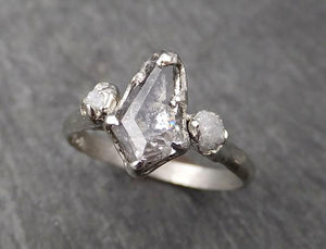 Fancy cut salt and pepper Diamond Multi stone Engagement 14k White Gold Wedding Ring Rough Diamond Ring byAngeline 1729