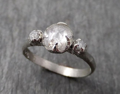 Faceted Fancy cut white Diamond Engagement 14k White Gold Multi stone Wedding Ring Rough Diamond Ring byAngeline 1737