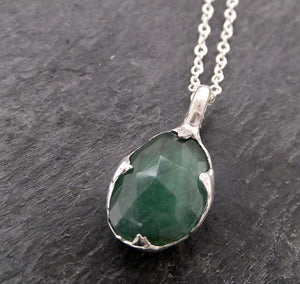 Fancy cut green Tourmaline Sterling Silver Pendant Gemstone Necklace gemstone Jewelry byAngeline SS00017