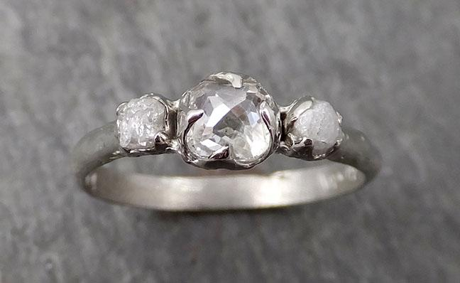 Faceted Fancy cut white Diamond Engagement 14k White Gold Multi stone Wedding Ring Rough Diamond Ring byAngeline 1735