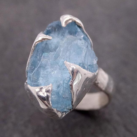 uncut Aquamarine Solitaire Ring Custom Sterling Silver One Of a Kind Gemstone Ring Bespoke byAngeline SS00024
