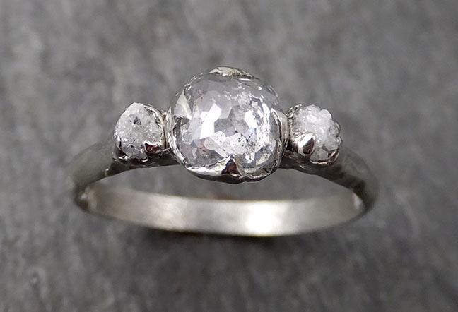 Faceted Fancy cut white Diamond Engagement 14k White Gold Multi stone Wedding Ring Rough Diamond Ring byAngeline 1736