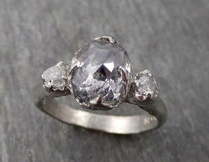 Fancy cut salt and pepper Diamond Multi stone Engagement 14k White Gold Wedding Ring Rough Diamond Ring byAngeline 1731